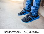 baby jeans shoes closeup | Shutterstock . vector #601305362