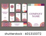 set of business cards. vintage... | Shutterstock .eps vector #601310372
