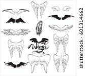 angel wings vector  lettering ... | Shutterstock .eps vector #601314662