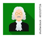 a judge in a wig and glasses. a ... | Shutterstock .eps vector #601319726