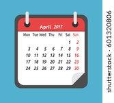 monthly calendar for april 2017.... | Shutterstock .eps vector #601320806