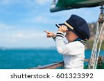 funny little baby captain on... | Shutterstock . vector #601323392