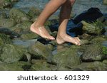 beach feet - stock photo