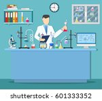 laboratory assistant with test... | Shutterstock .eps vector #601333352