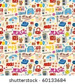 cute music icon seamless pattern | Shutterstock .eps vector #60133684