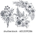 set of floral compositions.... | Shutterstock .eps vector #601339286
