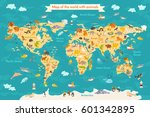 animal map for kid. world... | Shutterstock .eps vector #601342895