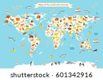 map animal for kid. continent... | Shutterstock .eps vector #601342916