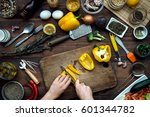 slicing by hand pepper on... | Shutterstock . vector #601344782