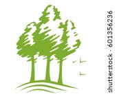 green pines silhouette vector ... | Shutterstock .eps vector #601356236