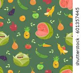 seamless background with fruits ... | Shutterstock .eps vector #601357445