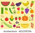 set of fruits and vegetables.... | Shutterstock .eps vector #601359296