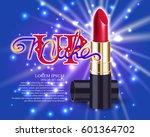 makeup red lipstick advertising ...   Shutterstock .eps vector #601364702
