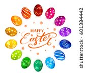 circle of multicolored easter... | Shutterstock .eps vector #601384442