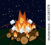 roasting marshmallow on... | Shutterstock .eps vector #601385378