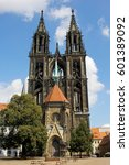 gothic meissen cathedral on the ... | Shutterstock . vector #601389092
