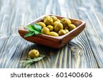 Green Olives In A Wooden Bowl...