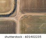 top aerial view of crossroad... | Shutterstock . vector #601402235