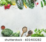 fresh raw greens  unprocessed... | Shutterstock . vector #601403282