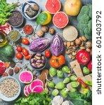 clean eating concept over grey... | Shutterstock . vector #601403792