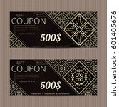 two gift vouchers in luxury... | Shutterstock .eps vector #601405676