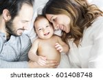 a mother father and baby child... | Shutterstock . vector #601408748