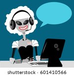 female robot working in a call...