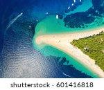 aerial view of zlatni rat beach ... | Shutterstock . vector #601416818