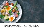 spring asparagus salad in... | Shutterstock . vector #601423322