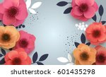 red flowers with realistic... | Shutterstock .eps vector #601435298
