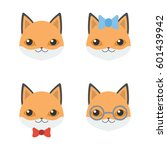 set four flat icon with muzzle... | Shutterstock .eps vector #601439942