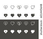heart icons set vector | Shutterstock .eps vector #601445648