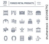 forged metal products  artistic ... | Shutterstock .eps vector #601448792