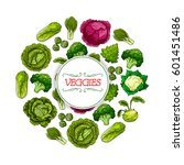 vegetable round symbol. cabbage ... | Shutterstock .eps vector #601451486
