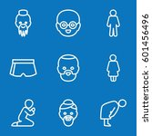 set of 9 male outline icons... | Shutterstock .eps vector #601456496
