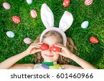 happy easter bunny. child... | Shutterstock . vector #601460966