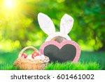 happy easter bunny. child... | Shutterstock . vector #601461002