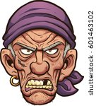 angry cartoon pirate face.... | Shutterstock .eps vector #601463102