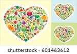 set of vegetables in the form... | Shutterstock .eps vector #601463612