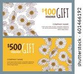 vector floral gift voucher... | Shutterstock .eps vector #601466192