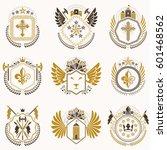 set of vector vintage emblems... | Shutterstock .eps vector #601468562