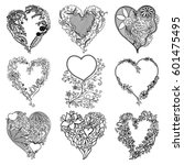Set Of Isolated Hearts. Vector...