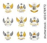 ancient crowns emblems set.... | Shutterstock .eps vector #601478972