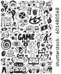 computer games doodles | Shutterstock .eps vector #601480568