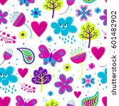 childish seamless pattern with... | Shutterstock .eps vector #601482902