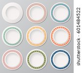 set of nine white plates with... | Shutterstock .eps vector #601484522