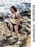 hispanic woman standing on... | Shutterstock . vector #601485416