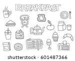 hand drawn breakfast set.... | Shutterstock .eps vector #601487366