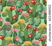 watercolor cactus background.... | Shutterstock . vector #601488002