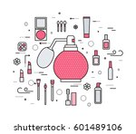 thin line makeup tools modern... | Shutterstock .eps vector #601489106